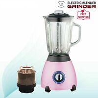 New 2 in 1 Blender 1.5 L Glass Jug Grinder Smoothie Maker Mixer 500W Pink UK