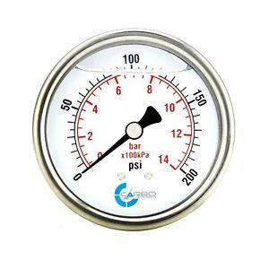 "2-1/2"" Pressure Gauge, Stainless Steel Case, Liquid Filled, Back Mnt 0-200 PSI"