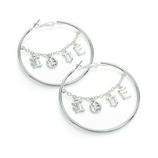 Ladies Silver Coloured 'LOVE' Chain Design Hoop Earrings Fashion Jewellery