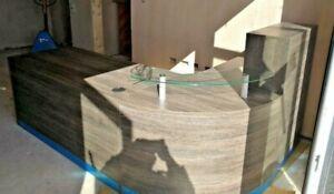 ZEBRANO RECEPTION DESK CURVED RECEPTION DESK CURVED CORNER UNIT GLASS SHELF