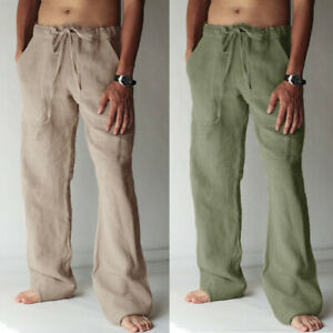 AU Men's Casual Cotton Linen Harem Pants Oversize Yoga Pants Drawstring Trousers