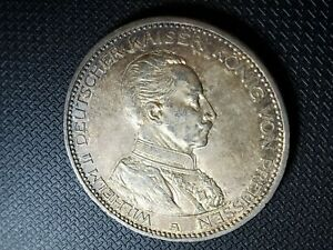 1913-A Prussia 5 Mark Silver Coin German States