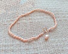 "cultured freshwater knotted light pink pearl bracelet solid 18k gold 2mm 7"""