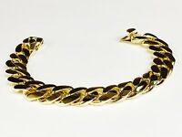"10k solid yellow gold handmade Curb Link mens bracelet 9.5"" 128Grms 14.5MM"