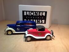 LIONELVILLE DIE CAST CARS by ERTL - CHEVY DELIVERY VAN & FORD ROADSTER F085