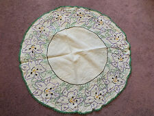 Embroidered Doily Dresser Scarf Crochet Trim Green Purple Black Gold 18 Inch WOW