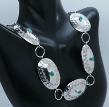 """Sterling Silver 925 Oval Cut Natural Turquoise Oval Chain Necklace-32"""""""
