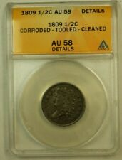 1809 Classic Head Half Cent H1c C-3 ANACS AU-58 Details Corroded Tooled Cleaned