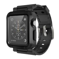 Simpeak Rugged Protective Case with Black Straps for Apple Watch 42mm,Black