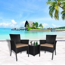 Outdoor 3 PC Bistro Sofa Coffee Table Set Wicker Chair Sectional Furniture Patio