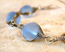 VALENTINA sapphire blue sea glass herringbone wire wrapped bracelet LEAD FREE