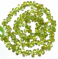 NG2069 Green Peridot 6mm -8mm Top-Drilled Teardrop Briolette Gemstone Beads 14""