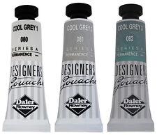 Daler Rowney gouache Cool Grey Set-trois 15 ml tubes-Brand new-Free UK POST