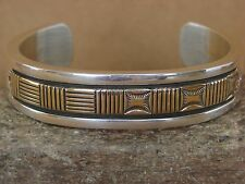 Native American Jewelry Sterling Silver 14K Gold Bracelet by Bruce Morgan!