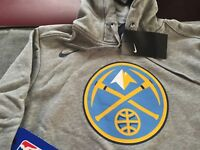 WOMENS NIKE DENVER NUGGETS HOODIE SWEATSHIRT L LARGE GRAY NWT