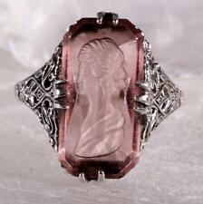 Filigree Style Purple Glass Intaglio Ring Size 8.25 Marked Vintage 925