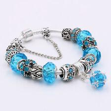 Silver Plated Bangle Green/Light Blue Crystal European Charm Beads Bracelet Gift