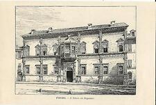 Stampa antica FERRARA veduta di Palazzo Magnanini detto Roverella 1892 Old print