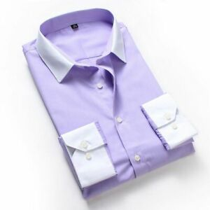New Mens Dress Shirts Formal Solid Luxury Business Designer Long Sleeves Shirts