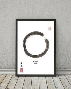 ENSO Zen circle print - Decor wall art painting gift sumi-e buddism minimalistic