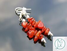 Carnelian Natural Chip Gemstone Earrings Drop Quartz Crystal Chakra Healing
