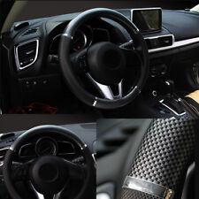 Black 38cm Carbon fiber Leather Steering Wheel Cover Car Accessories Universal