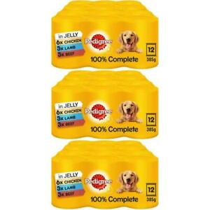 36 x 385g Pedigree Dog Wet Food Tins Mixed Selection Chicken Lamb Beef In Jelly