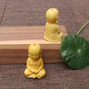 1PC Chinese Boxwood Wood Carving Little Monk  Buddha Amulet Pendant Ornaments