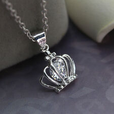 Women Jewelry Crystal Princess Queen Crown Silver Pendant Chain Necklace 20inch