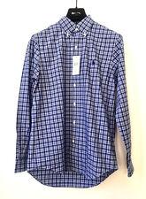 RALPH LAUREN Herren Button Down Shirt Langarm Hemd S Kariert Blau Weiß UVP €99