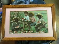 Vintage Black Memorabilia Kids Eating Watermelon