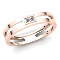 Genuine 0.15ctw Round Cut Diamond Mens 2 Stone Anniversary Wedding Band 14K Gold