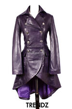 Ladies Leather Flare Coat ENVY Purple Gothic Style Real Leather Trenchcoat 3492