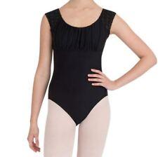 Capezio Adult Black Cap Sleeve Leotard Jacquard ballet dance sz2XS 24
