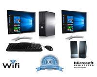 "Dell Desktop Computer PC Tower Intel Windows 10/7 WIFI Dual LCD Monitor 17""/19"""
