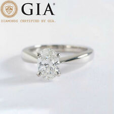 0.90 Cts GIA Comfort Fit 4 Prong Oval Cut Diamond Engagement Ring 18k White Gold