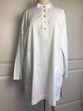 Eileen fisher women's Mandarin collar white Long Sleeve tunic w pockets M