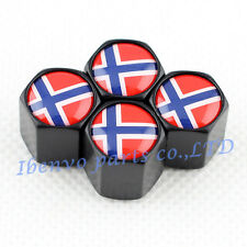 Black Styling Car Metal Wheel Tyre Tire Stem Air Valve Cap For Norwegian Flag