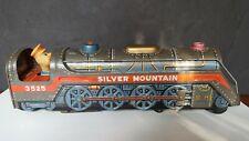 "Vintage Silver Mountain Toy Train Locomotive No. 3525 Pressed Tin 16"" Long"