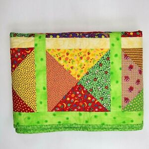 """Bright Green Quilt Throw 51"""" x 51"""" Handmade Multicolor Lap Blanket Baby Child"""