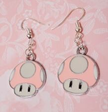Cute pink white mario videogame geek charms earrings hooks silver plated jewelry