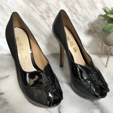 "L.A.M.B. Stiletto Pumps 7 Black Lace Up Front 5"" Heel Peep Toe Slip On Leather"