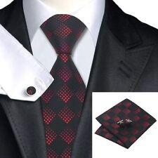 Mens Black Red Squares Pattern Silk Woven Tie+Hanky & Cuflinks Matching Set 154