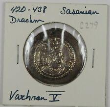 C279 Sasanian, Persia, AR Drachm of Varhan V, 420-438 D