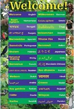Laminated Educational Poster WELCOME in 30 LANGUAGES | children's kids teaching