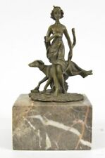 Signed Pure Bronze Diana Artemis the Hunter w/ Dog Sculpture Statue Marble Base