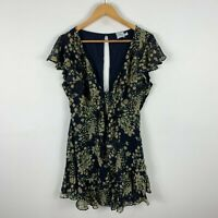Polly Womens Dress 12 Petite Floral Flare Short Sleeve V-Neck Button Closure