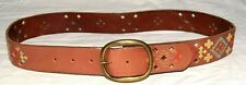 """Fossil Brown Leather w/ Multi Color Embroiderery Womens Belt Fits Sz 30"""" to 34"""""""
