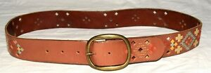 """Fossil Brown Leather with Multicolor Embroidery Womens Belt Fits 30"""" to 34"""""""