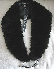 Elizabeth and James Black Rex Rabbit Eva Fur Collar Scarf Lined